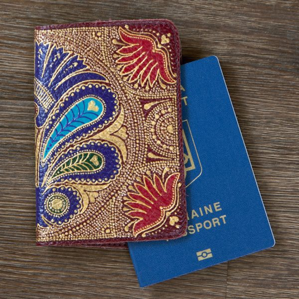 Red flower passport cover