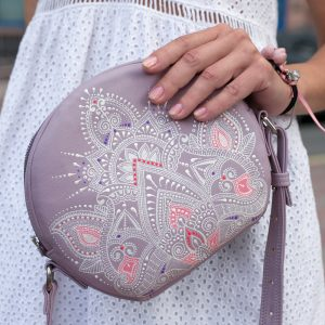 Purple round crossbody bag